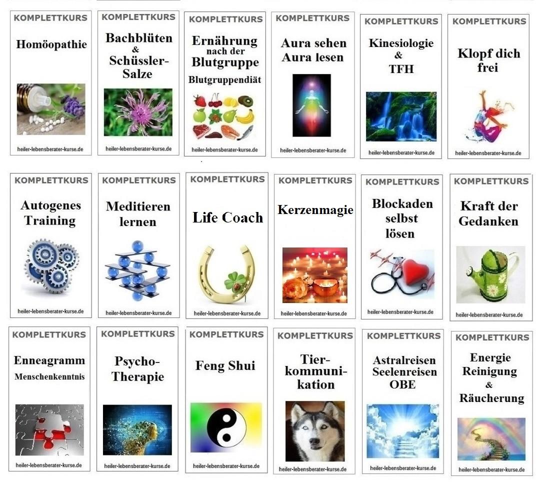Kinesiologie lernen, Feng Shui lernen, Die Kunst des Besprechens lernen, Autogenes Training lernen, Meditieren lernen, Enneagramm lernen, Tierkommunikation lernen, Blockaden lösen lernen