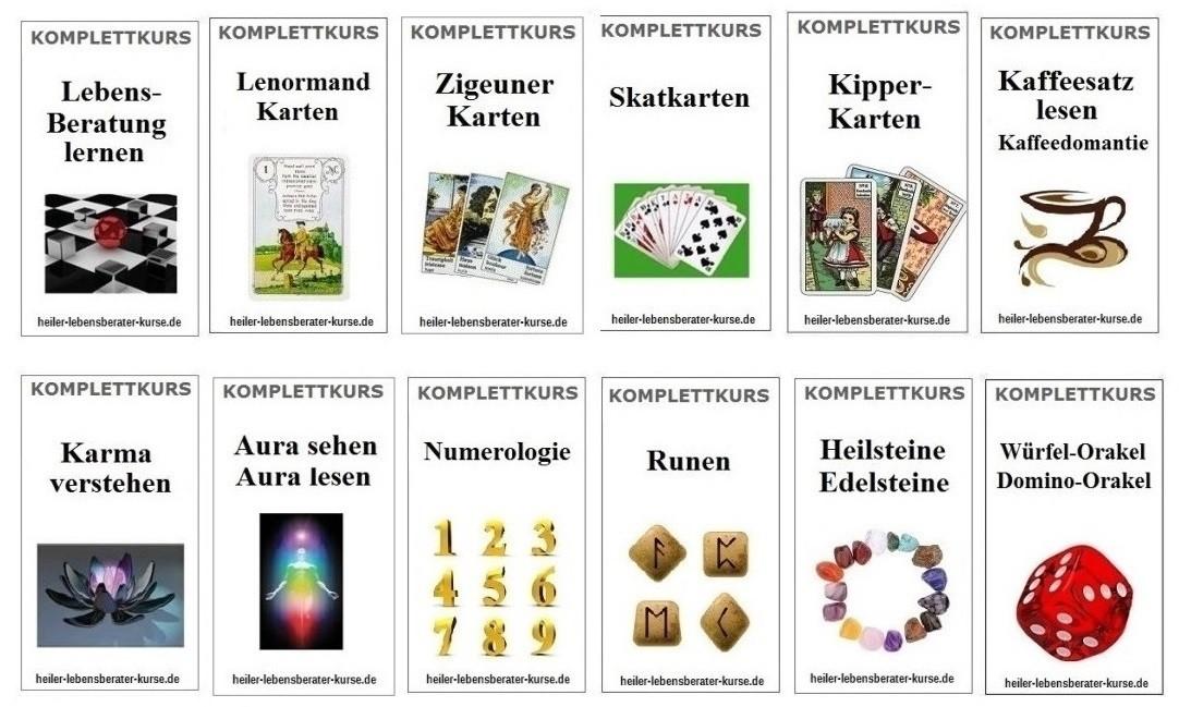 Lenormandkarten lernen, Kipperkarten lernen, Zigeunerkarten lernen, Lebensberatung lernen, Skatkarten lernen,